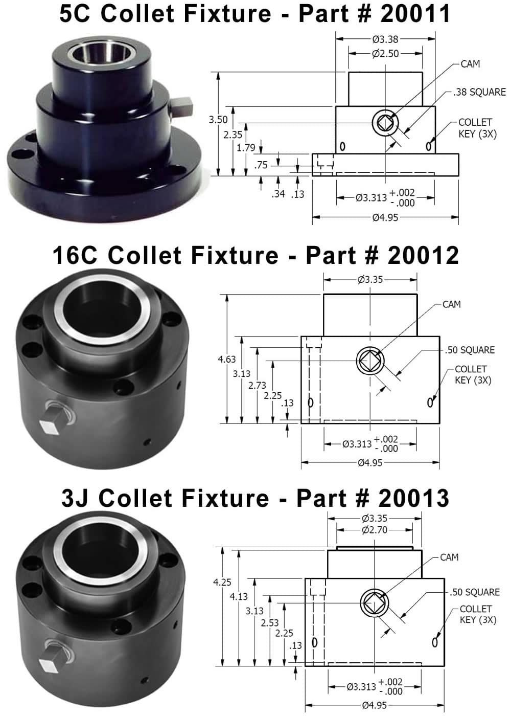 C C or J Single Station Collet Fixtures